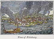 Pittsburgh Framed Prints - View Of Pittsburgh, 1836 Framed Print by Granger