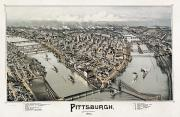 Lithograph Framed Prints - View Of Pittsburgh, 1902 Framed Print by Granger