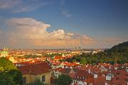 Red Buildings Posters - View Of Prague Rooftops From Castle Poster by Trish Punch