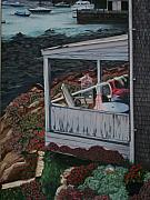 Rockport  Ma Paintings - View of Rockport by Cynthia L Ablicki