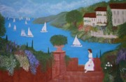 Anke Wheeler Paintings - View of Sailboats by Anke Wheeler