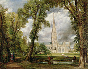 People Walking Prints - View of Salisbury Cathedral from the Bishops Grounds Print by John Glover