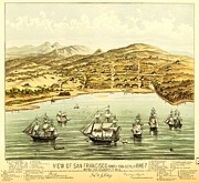 San Francisco Bay Drawings Prints - View of San Francisco Print by Reproduction
