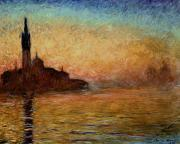 Sunset Reflection Prints - View of San Giorgio Maggiore Venice by Twilight Print by Claude Monet