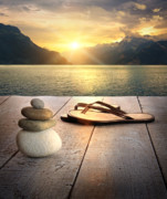 Stability Posters - View of sandals and rocks on dock  Poster by Sandra Cunningham