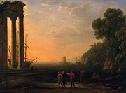 Silhouette Painting Framed Prints - View of Seaport Framed Print by Claude Lorrain