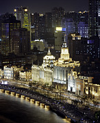 Bund Shanghai Photos - View Of Shanghais Bund District By Night by Andrew Rowat