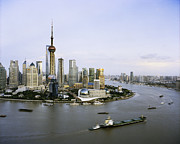 The Bund Prints - View Of Shanghais Pudong District B Print by Andrew Rowat