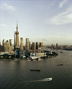 Travel China Posters - View Of Shanghais Pudong District By Day Poster by Andrew Rowat