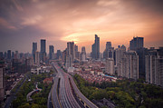 Road Travel Prints - View Of Skyline In Shanghai Print by Blackstation