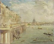 Terrace Paintings - View of Somerset House Terrace and St. Pauls by John Constable