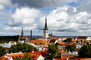 Tallinn Photos - View of St Olavs Church by Fabrizio Troiani