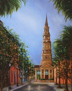 Charleston Houses Paintings - View of St. Phillips by Kathy Lynn Goldbach