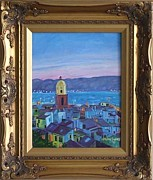 St.tropez Paintings - View of St. Tropez by Mimi  Bauer