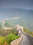 Road Travel Framed Prints - View Of Stone Wall Great Wall Of China Framed Print by Grant Faint