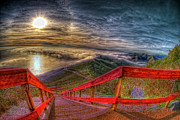 Staircase Prints - View Of Sun Into Sea At Marin Headlands Print by Image by Sean Foster