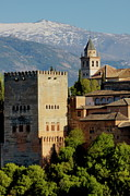 Alhambra De Granada Prints - View of the Alhambra Palace from the Plaza of Saint Nicholas Print by Sami Sarkis