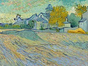 St Remy Posters - View of the Asylum and Chapel at Saint Remy Poster by Vincent Van Gogh