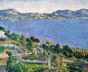 France Painting Prints - View of the Bay of Marseilles Print by Paul Cezanne