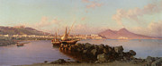 Fishing Painting Posters - View of the Bay of Naples Poster by Alessandro la Volpe