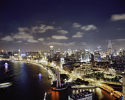 Bund Shanghai Photos - View Of The Bund At Night by Andrew Rowat