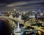 Bund Shanghai Photos - View Of The Bund District At Night by Andrew Rowat