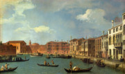 Gondolier Painting Prints - View of the Canal of Santa Chiara Print by Canaletto