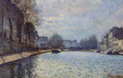 Canals Framed Prints - View of the Canal Saint-Martin Paris Framed Print by Alfred Sisley