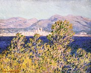 Impressionism Prints - View of the Cap dAntibes with the Mistral Blowing Print by Claude Monet