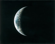 Satellite View Posters - View Of The Earth From Outer Space During An Eclipse Poster by Stockbyte