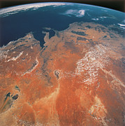 Satellite View Posters - View Of The Earth From Outer Space Poster by Stockbyte