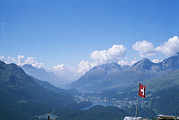 Scenic Overlooks Prints - View Of The Engadin Valley And St Print by Taylor S. Kennedy