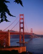 Sea View Photo Prints - View of the Golden Gate Bridge Print by American School