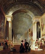 Interior Art Prints - View of the Grande Galerie of the Louvre Print by Patrick Allan Fraser