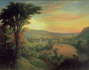Autumn Landscape Painting Prints - View of the Mohawk near Little Falls Print by Mannevillette Elihu Dearing Brown