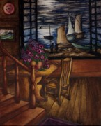 Wooden Stairs Posters - View of the Moon and the Sea Poster by Evelyn Sichrovsky