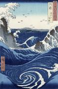 Colour Painting Framed Prints - View of the Naruto whirlpools at Awa Framed Print by Hiroshige