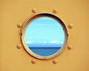 Screws Framed Prints - View of the Ocean through a Porthole Framed Print by Yali Shi