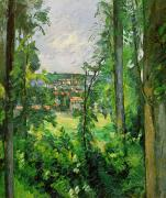 Lush Green Painting Posters - View of the Outskirts Poster by Paul Cezanne