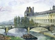 Boats In Water Painting Posters - View of the Pavillon de Flore of the Louvre Poster by Francois-Marius Granet