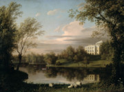 Lake House Metal Prints - View of the Pavlovsk Palace Metal Print by Carl Ferdinand von Kugelgen