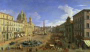 Streets Framed Prints - View of the Piazza Navona Framed Print by Canaletto