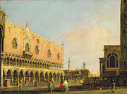 Library Painting Posters - View of the Piazzetta San Marco Looking South Poster by Canaletto