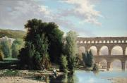 Light Blue Sky Framed Prints - View of the Pont du Gard Framed Print by Henri Marie Poinsot