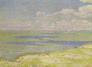 Pointillist Framed Prints - View of the River Scheldt Framed Print by Theo van Rysselberghe