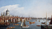 Sail Boats Framed Prints - View of the River Thames with St Pauls and Old London Bridge   Framed Print by William James