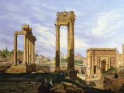 Corinthian Prints - View of the Roman Forum Print by Jodocus Sebasiaen Adeele