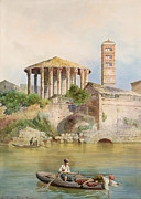 System Painting Framed Prints - View of the Sbocco della Cloaca Massima Rome Framed Print by Ettore Roesler Franz