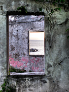 Framing Framed Prints - View of the sea through two windows Framed Print by Anya Brewley schultheiss