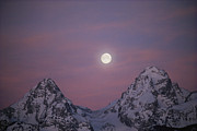 Snow And Night Sky Framed Prints - View Of The Setting Moon Over Grand Framed Print by Jimmy Chin